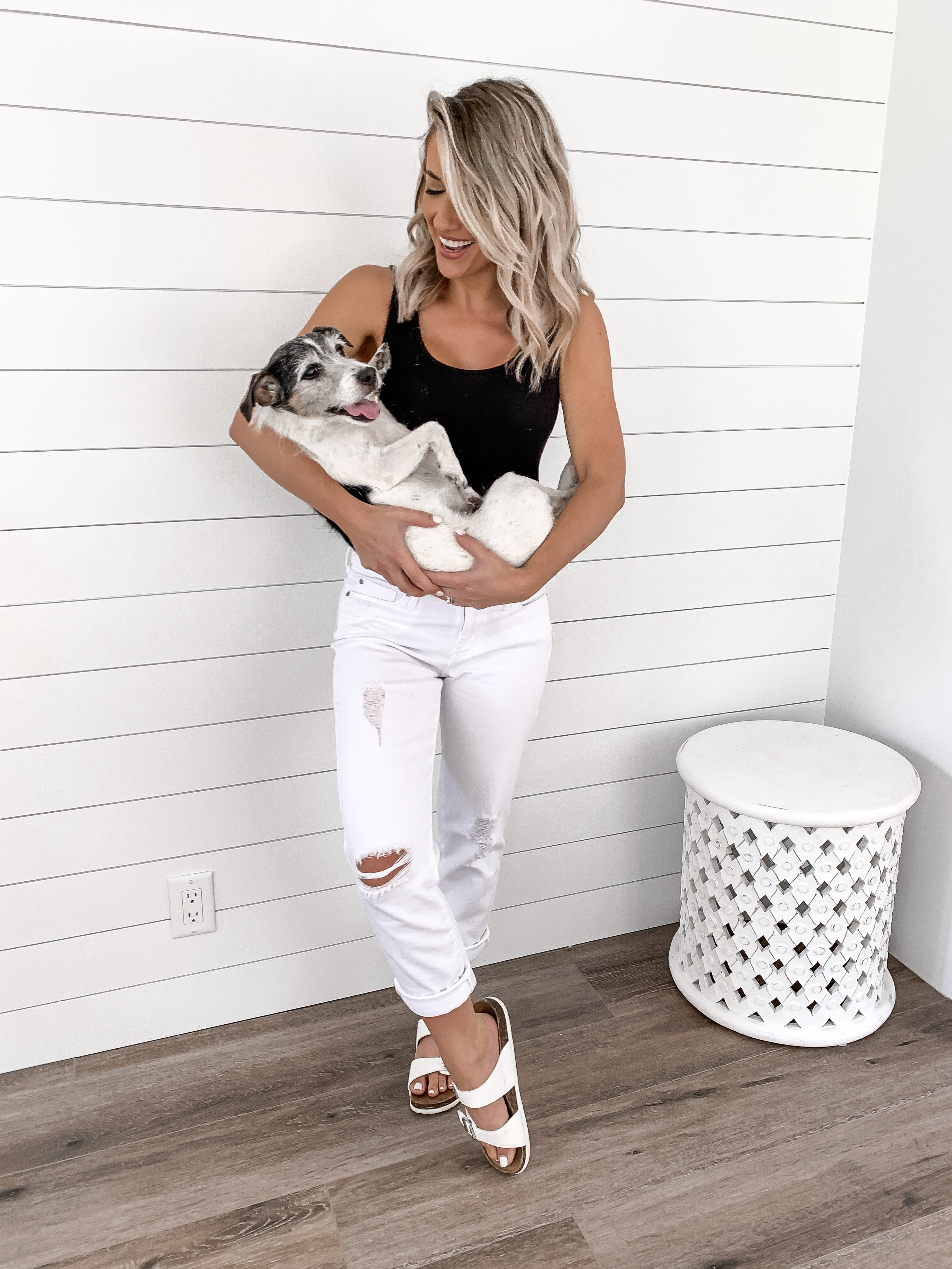 affordable casual outfit idea white levis jeans under $20 birkenstock dupes jack russell Laura Beverlin1
