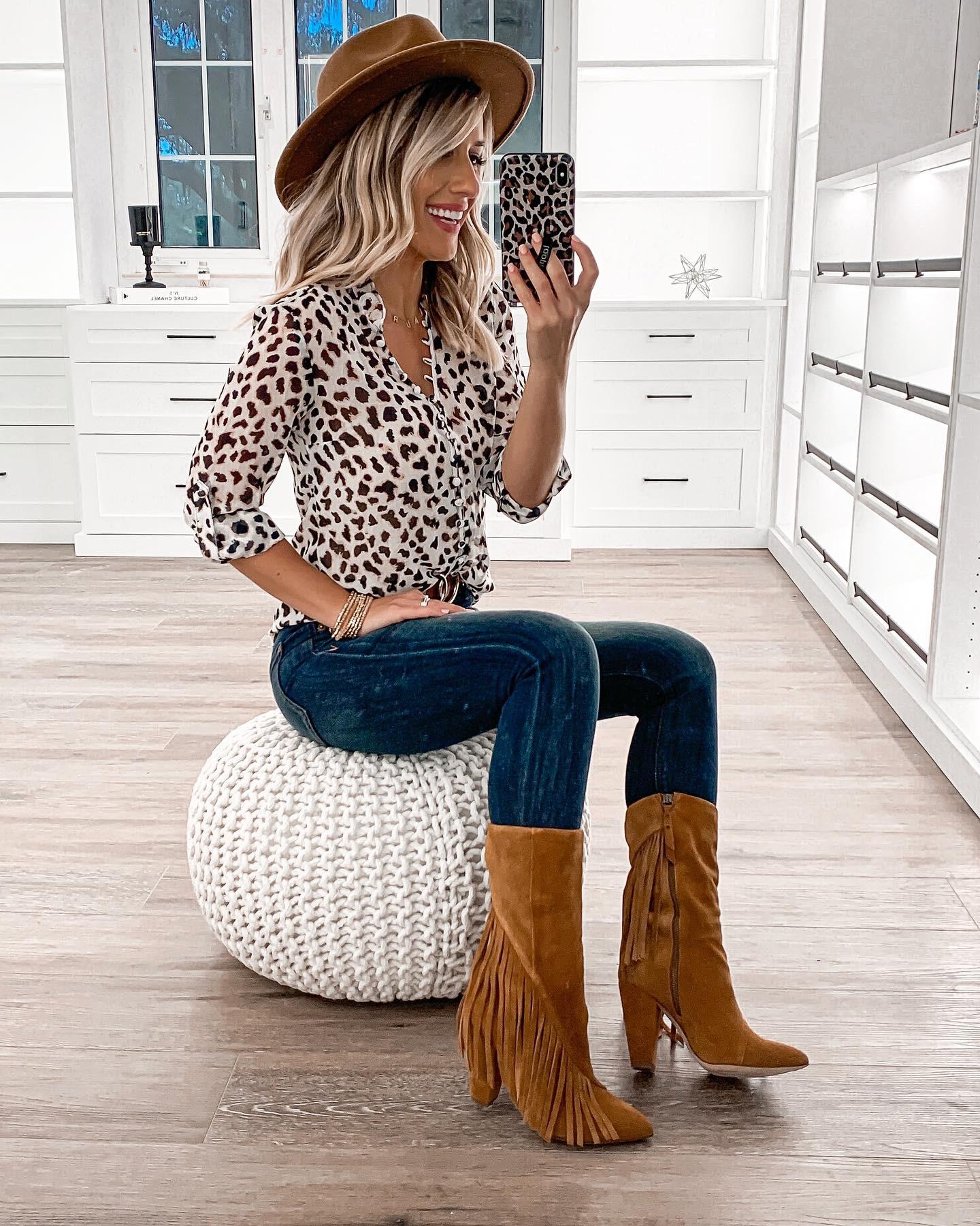leopard work blouse express dark wash skinny jeans fringe booties laura beverlin