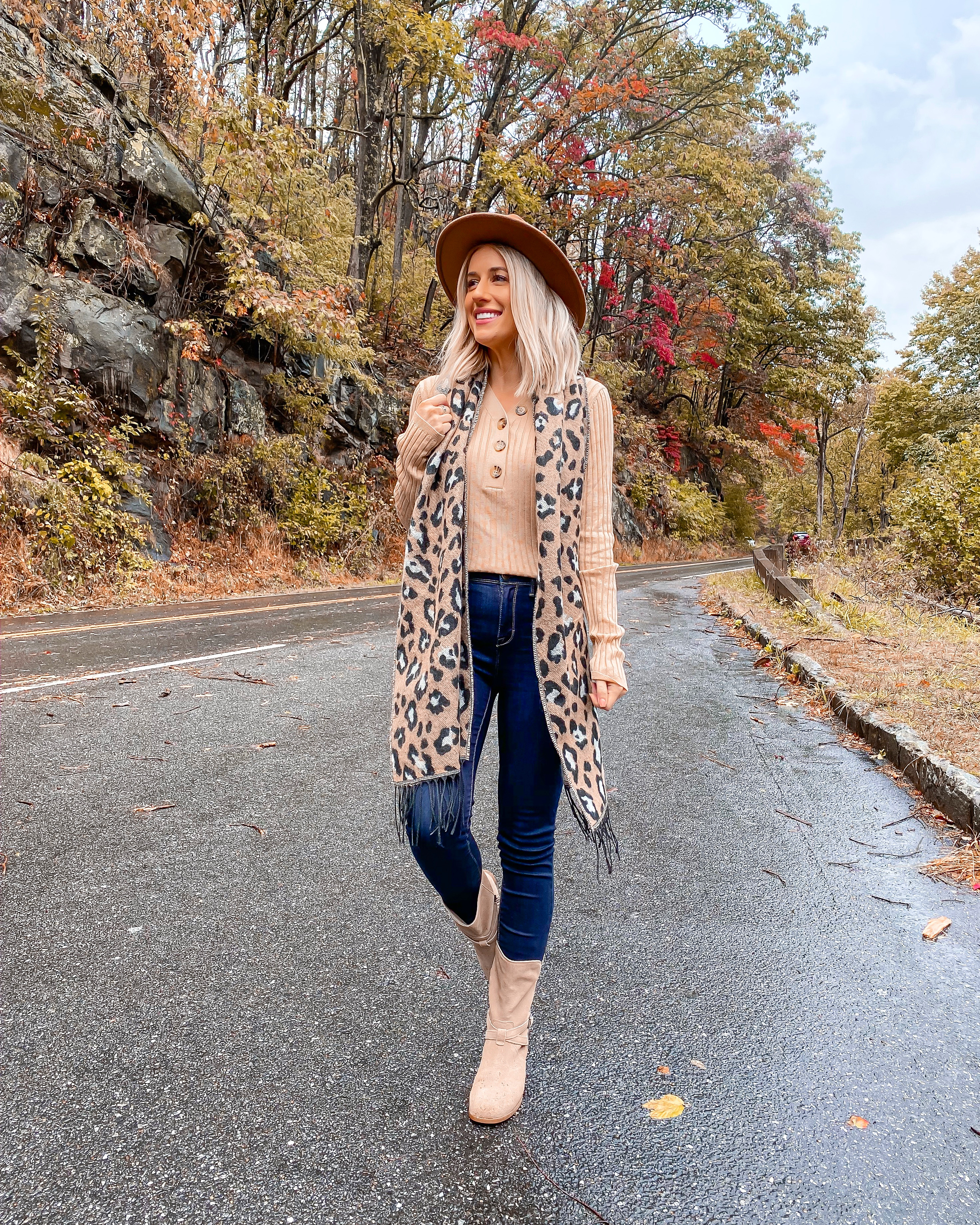 AFFORDABLE FALL OUTFIT UNDER $20 SMOKEY MOUNTAINS LAURA BEVERLIN LEOPARD SCARF 1