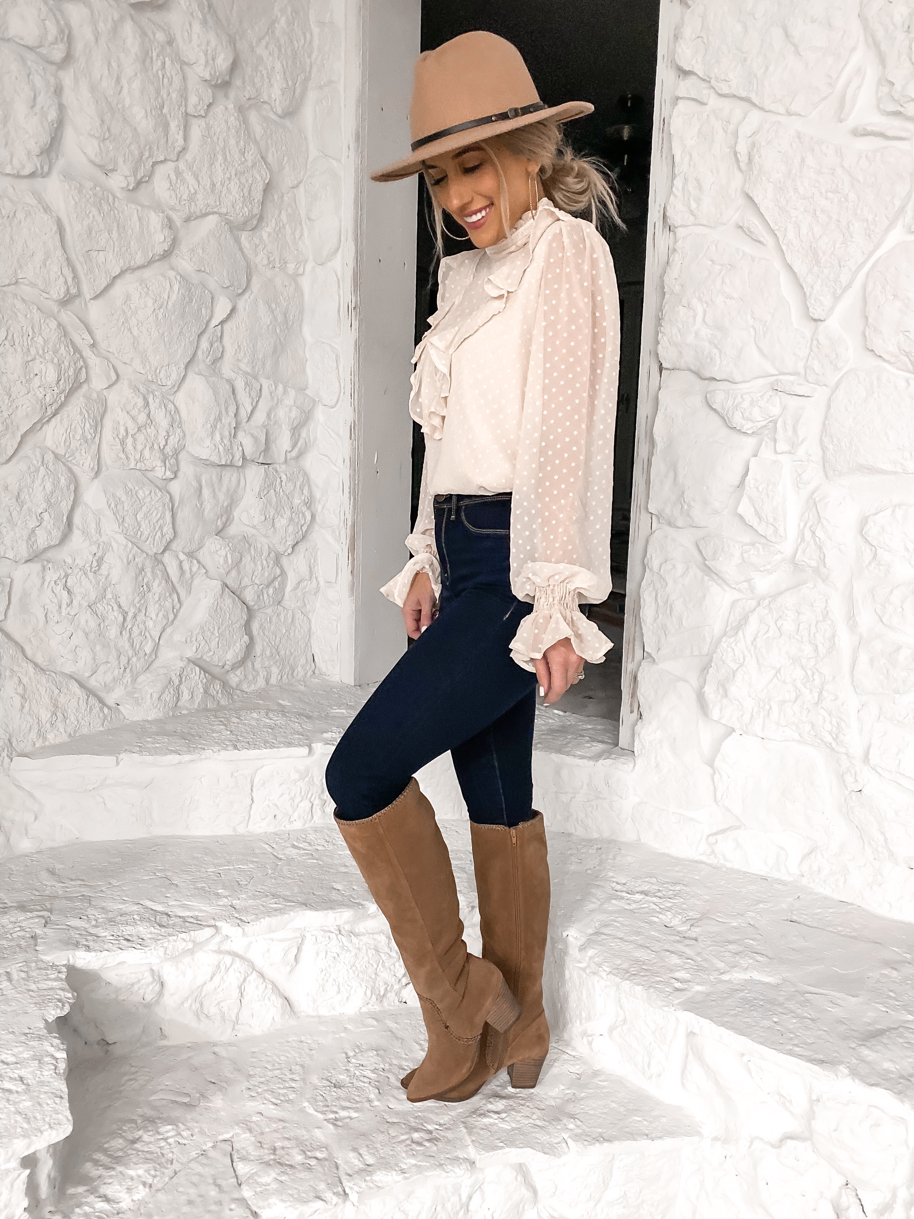 fall outfit idea ruffle blouse tan riding boots affordable fall outfit laura beverlin