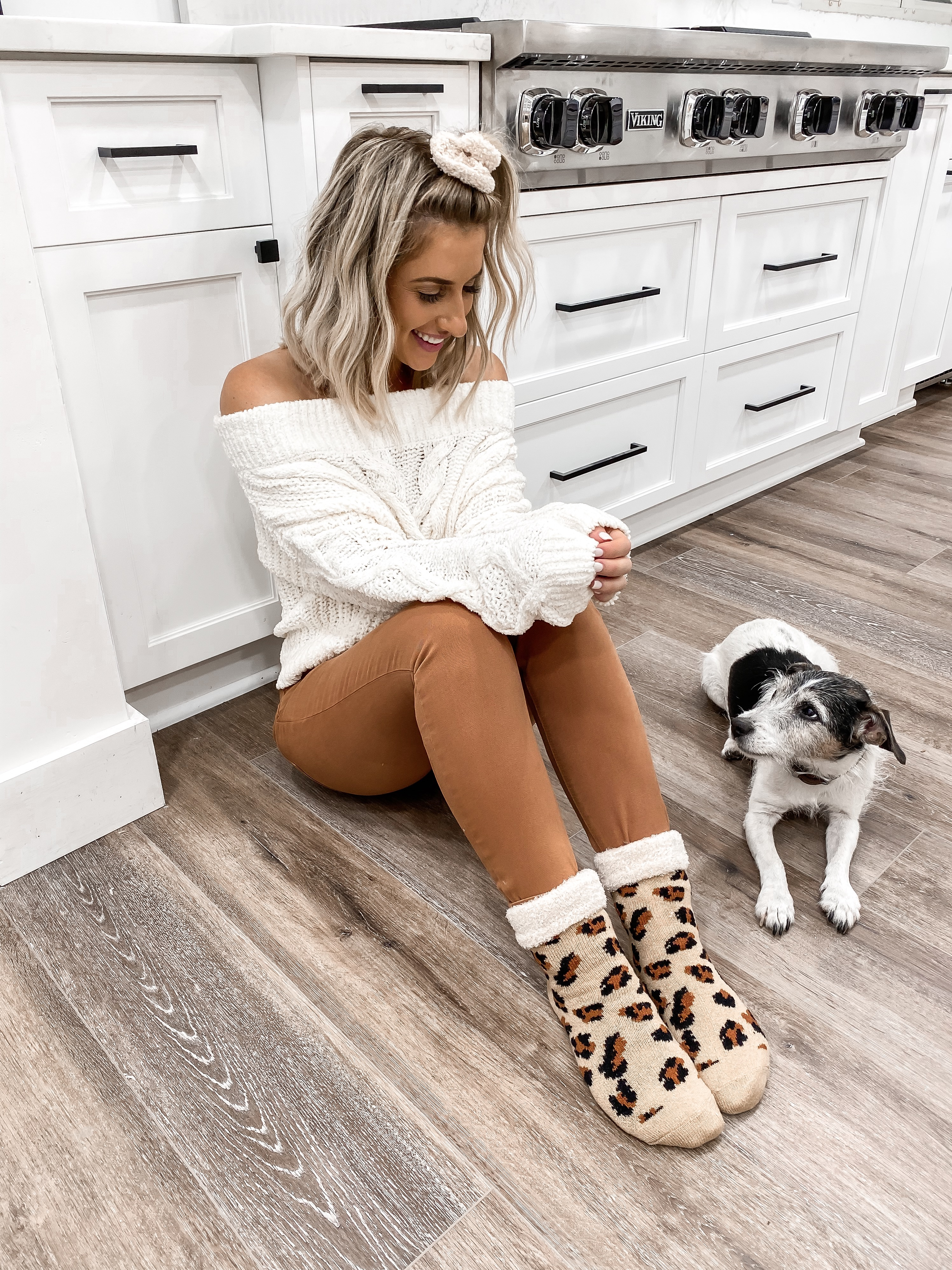 COZY FALL OUTFIT OFF THE SHOULDER SWEATER LEOPARD SOCKS LAURA BEVERLIN