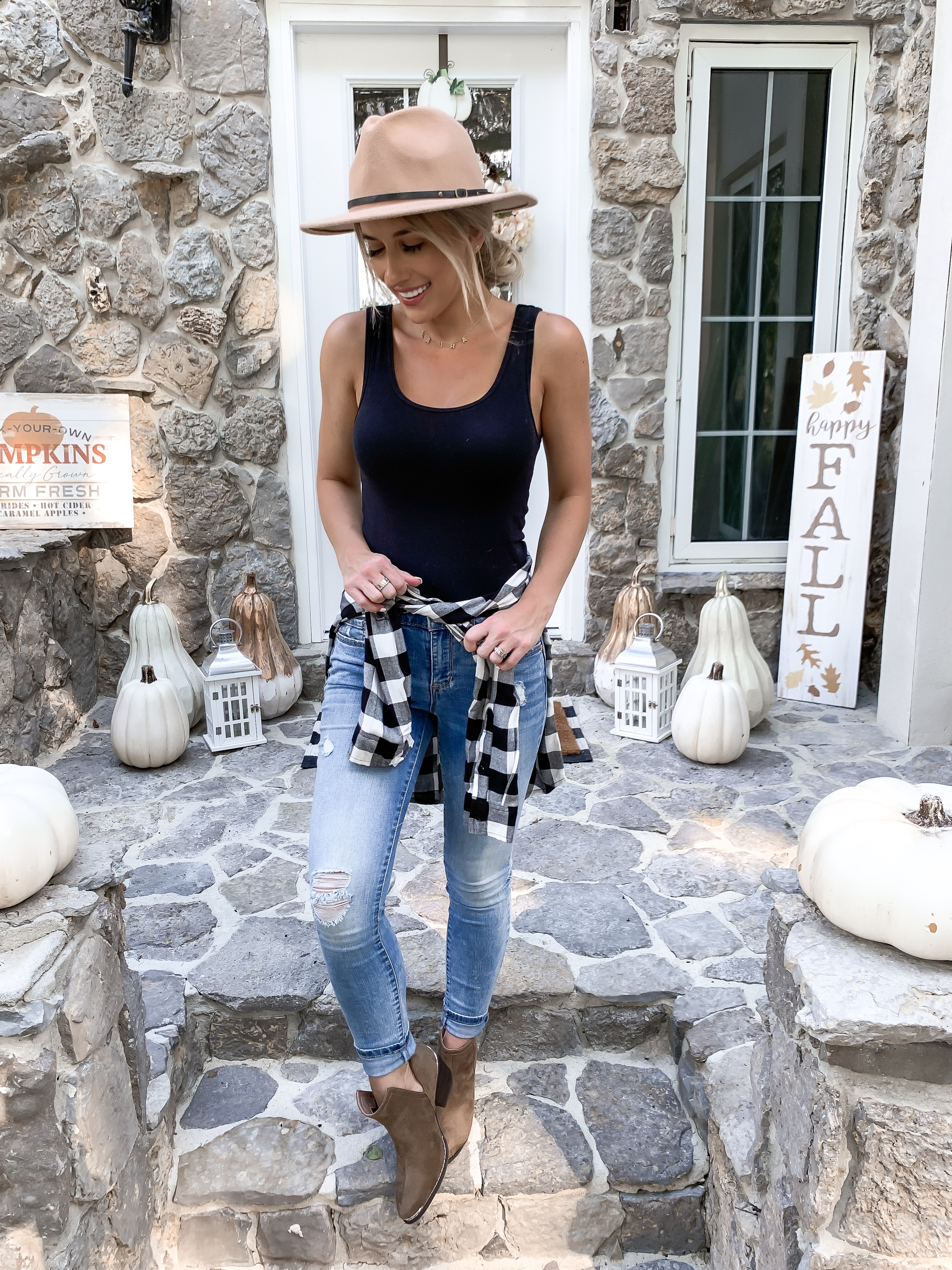 CASUAL FALL OUTFIT UNDER $50 BUFFALO CHECK SHIRT BOOTIES LAURA BEVERLIN FALL PORCH