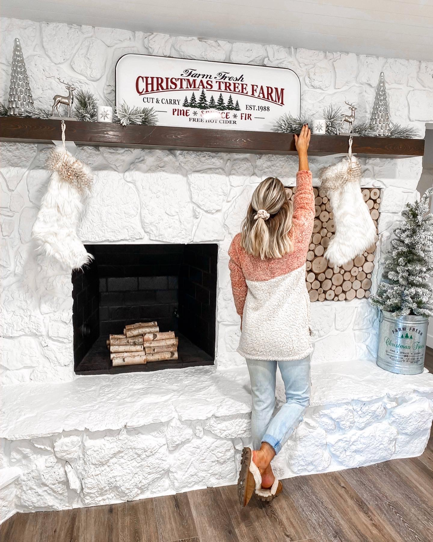 laura beverlin comfy casual outfit under $30 Farmhouse christmas home decor wood stacked fireplace5