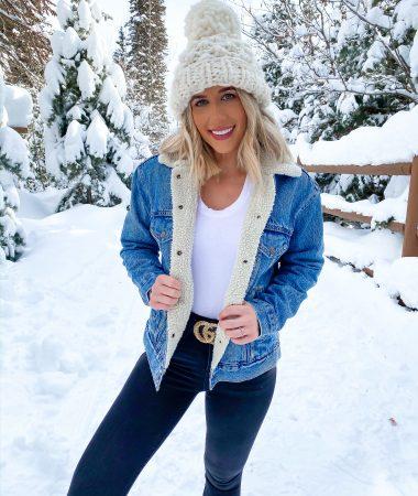 laura beverlin winter snow outfit denim sherpa jacket park city utah4