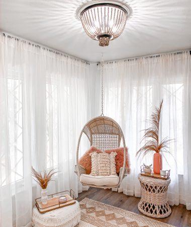Laura Beverlin Boho Farmhouse Spring Home Decor sitting room closet hanging chair4