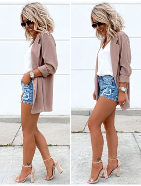 day to night outfit Laura Beverlin Blazer shorts spring summer outfit1