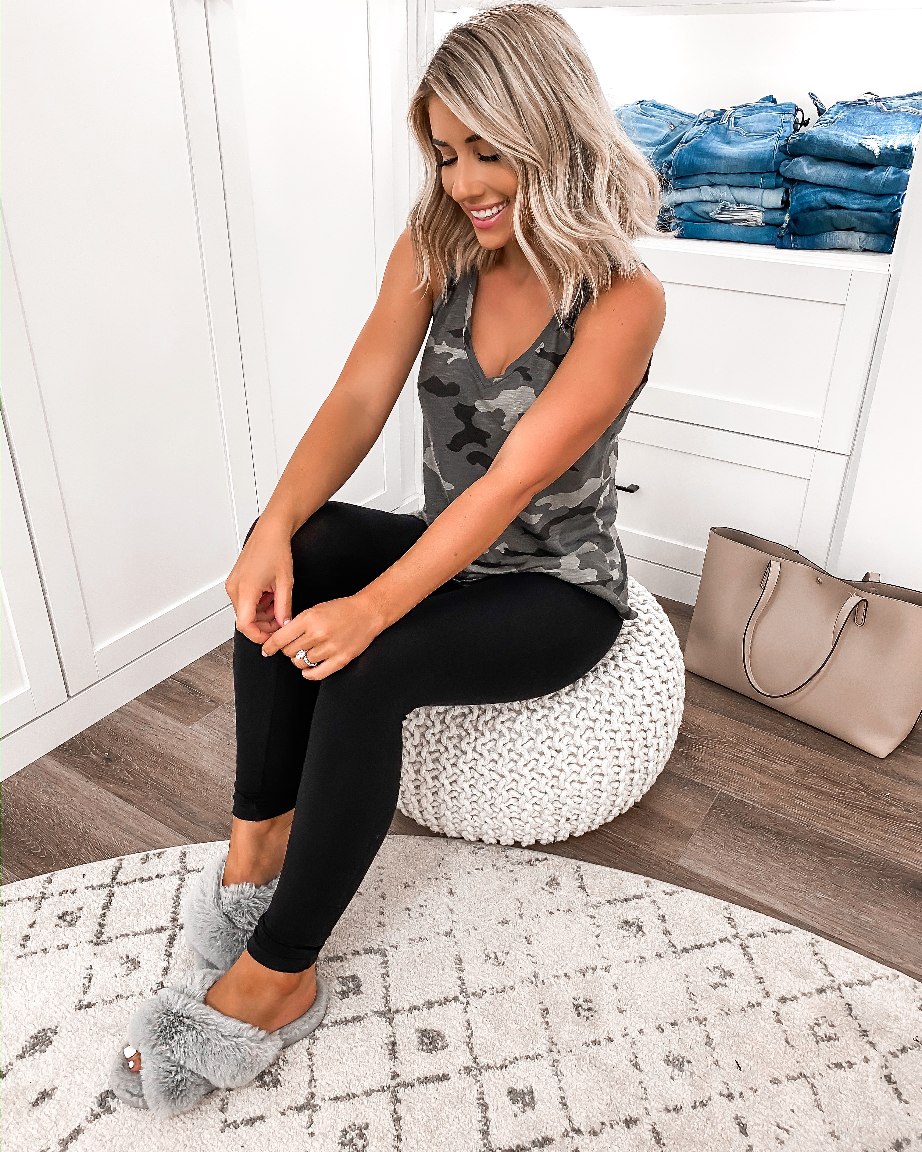 LAURA BEVERLIN BASIC LEGGINGS UNDER $20 CAMO TANK TOP CASUAL LOUNGE OUTFIT1