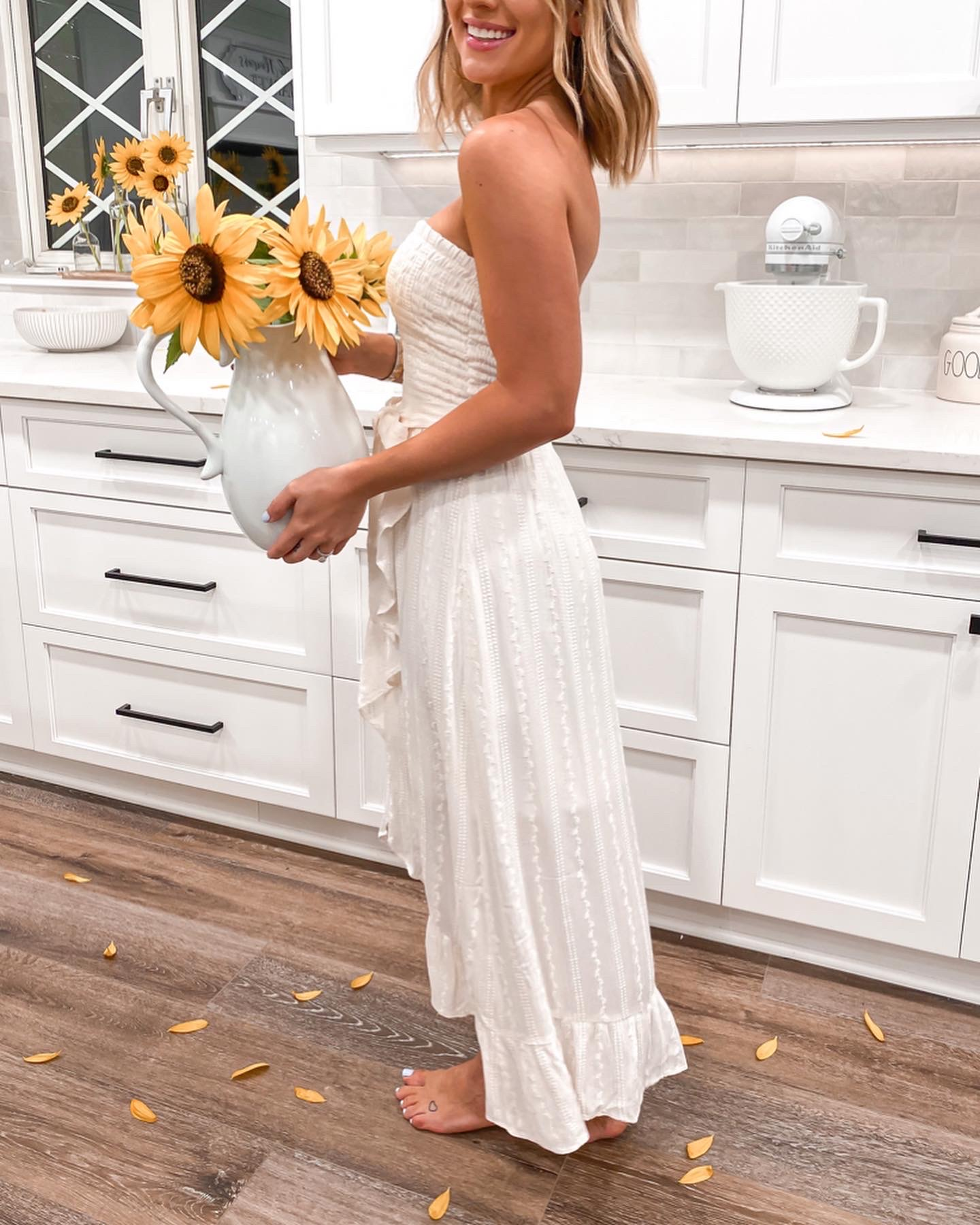 Laura beverlin white midi maxi dress spring farmhouse sunflowers kitchen express1