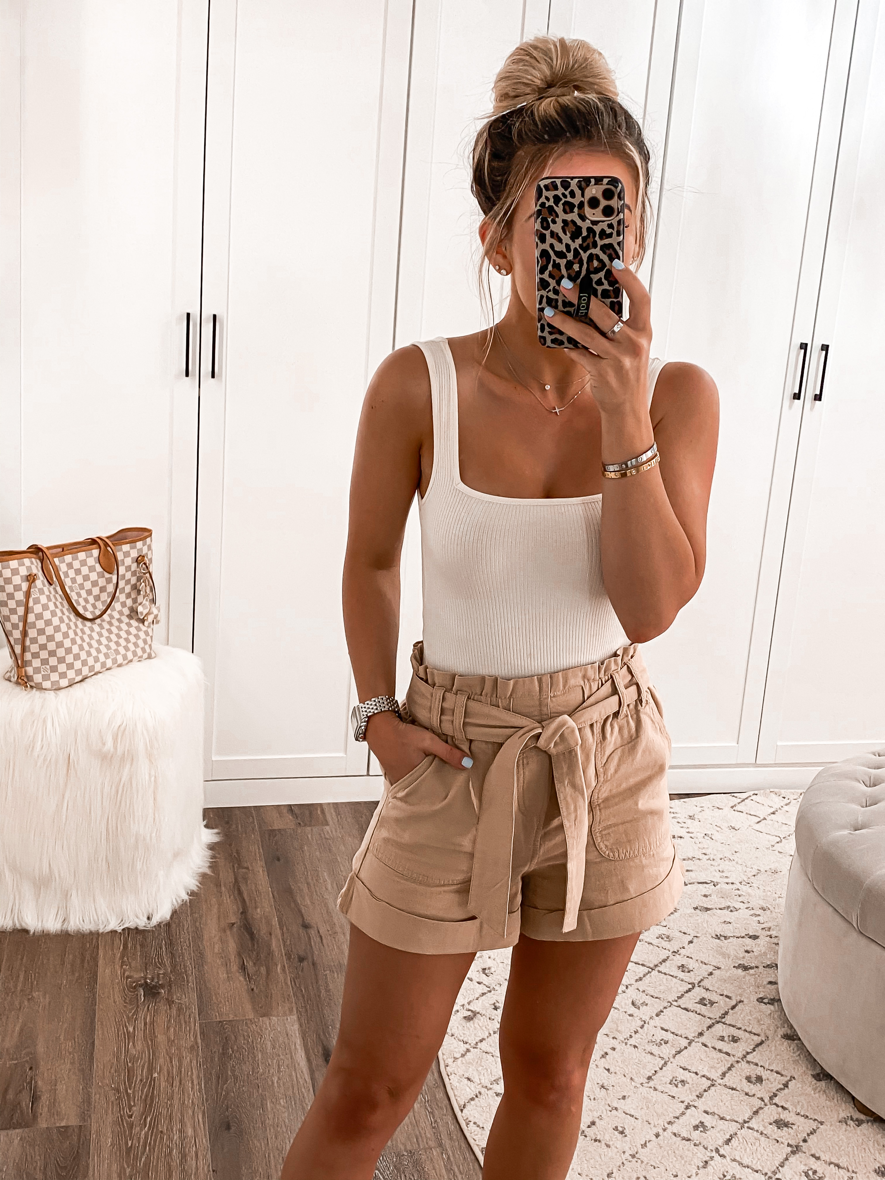 White Tank Bodysuit Tan Paperbag Shorts White Tory Burch Miller Sandals Laura Beverlin4