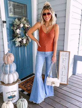 Fall Outfit Idea Flare Jeans Sweater Tank Laura Beverlin1