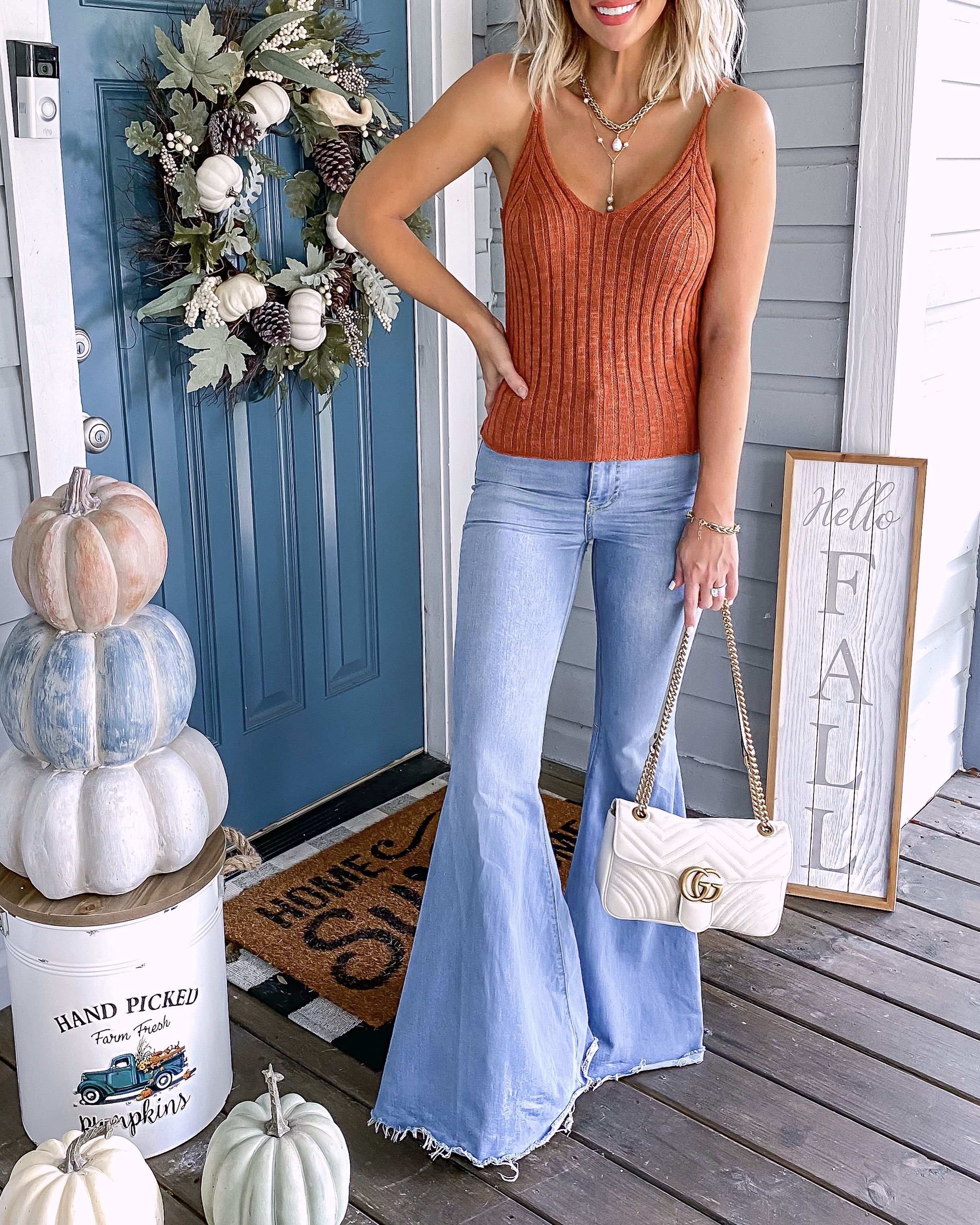 Fall Outfit Idea Flare Jeans Sweater Tank Laura Beverlin2