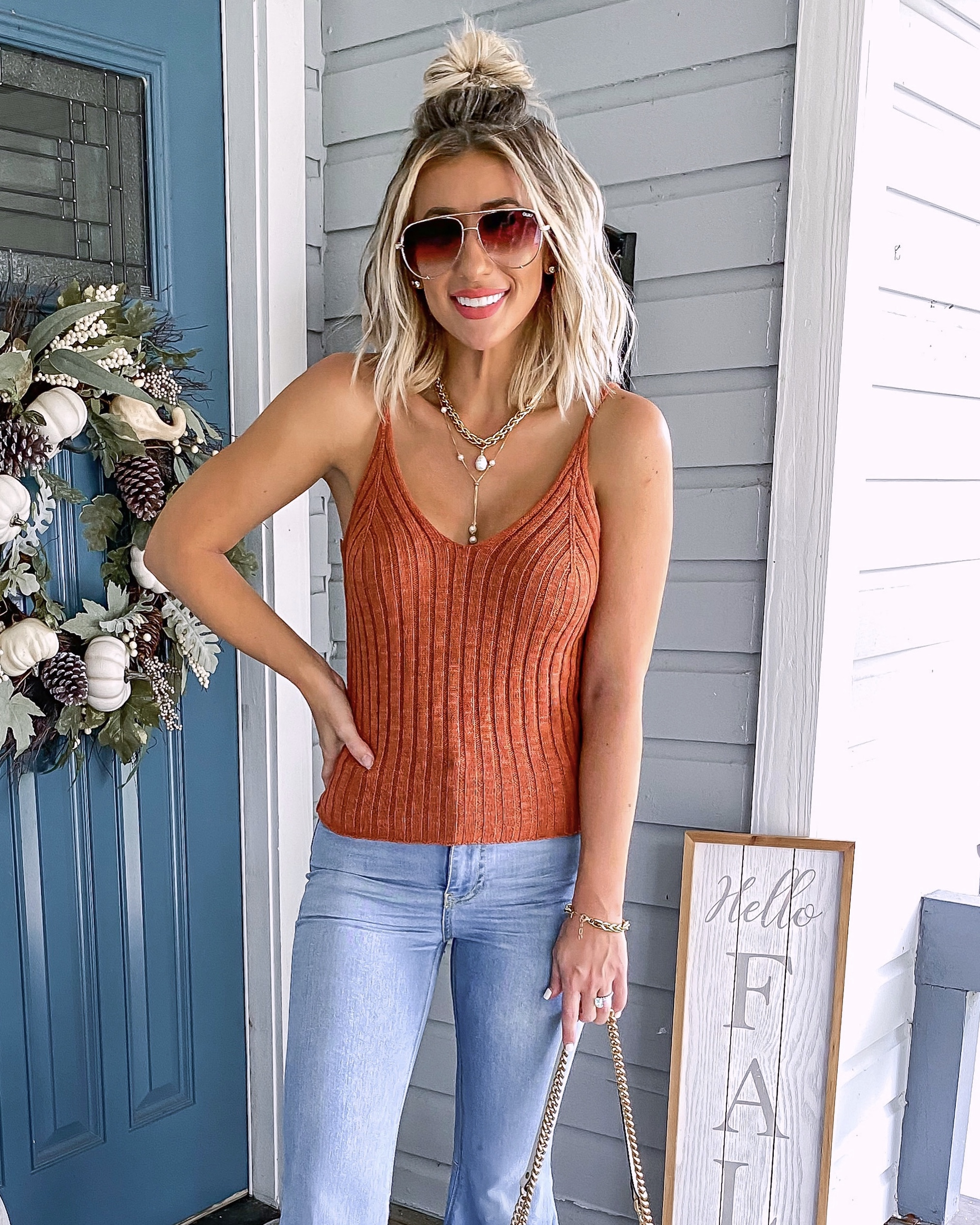 Fall Outfit Idea Flare Jeans Sweater Tank Laura Beverlin3
