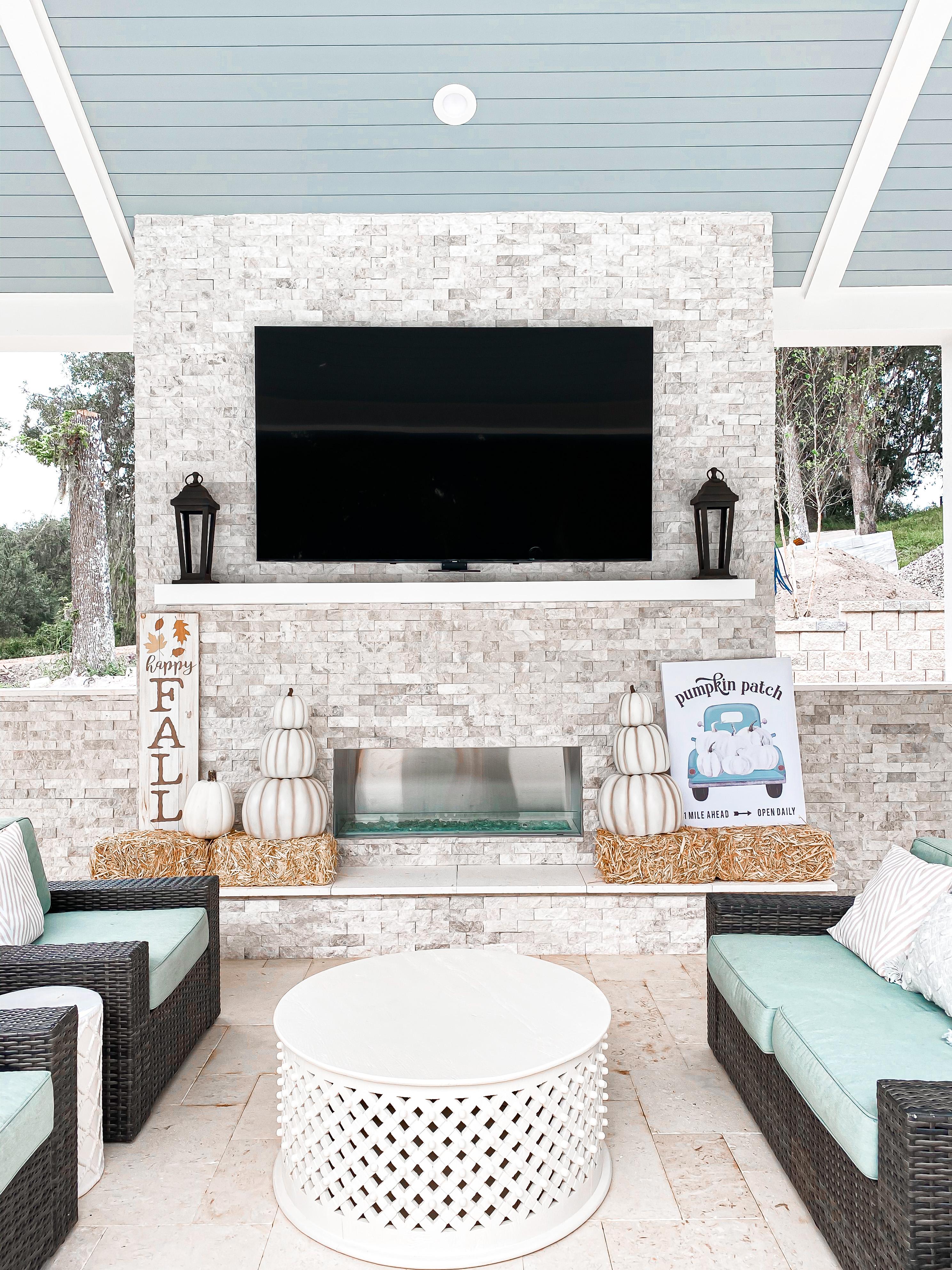 laura Beverlin Fall Home Decor Outdoor Fireplace 1